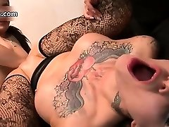 Nasty tattooed slut gets her shaved partThree