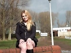 Blonde babes public masturbation and outdoor slit flashing of sexy amateur