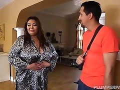 Busty Fat Asian Model Gets Massage from Latin