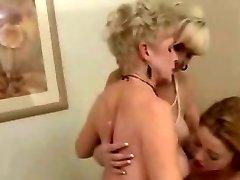 2 Mature Ladies & 1 Cock-squeezing Lesbians