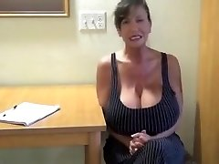 Secretary With Immense Tits Masturbating