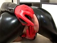 Blonde cougar wearing latex dildo pussy