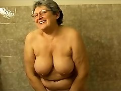 Granny masturbating in the shower