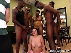 Waitress Elektra Rose Gangbanged By Ebony Customers