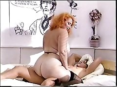 Fat ass redhead mature fucks a young cock
