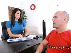 Good-sized tits car rental Milf bangs client
