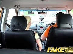 Fake Driving School Huge-titted platinum-blonde learner fucks
