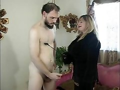 Big tits dominatrix Cristian & her slave in act