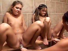 Mischievous pornstars Phyllisha Anne and Aubrey Addams in exotic strapon, rimming xxx clip