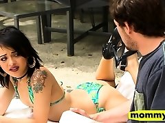 Isis Love and Holly Hendrix steamy ffm fucky-fucky in the kitchen