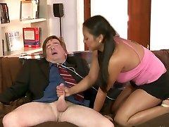 Lecherous brunette hoe Adriana Luna screws horny elder man