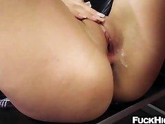 Schoolgirl fucked in the ass by her hefty cock educator