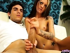 Tattooed stepsister jerking on stepbrother