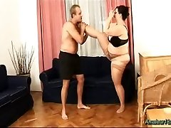 Chubby flexible babe smashed munching big hard balls
