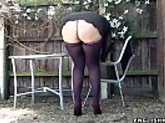 stockings upskirt no panties handsome ass UK cougar