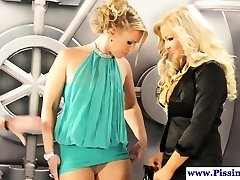 Pissing erotic babes pulverize and pee in trio