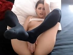 Sexy stunner nipples fingering thick cameltoe pussy