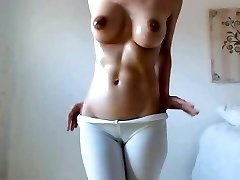 Hot babe yam-sized boobs tits dark nipples fur covered cameltoe pussy