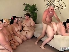 5 Horny BBWs fucked by 3 spunk-pumps