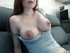 Beautiful multiorgasmic damsel with perfect natural bra-stuffers
