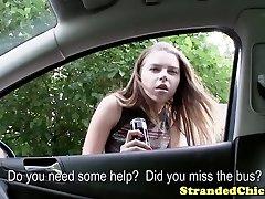 Stranded russian teen gets her funbags pop-shot