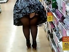 Meaty Woman In Pantyhose And Heels Shopping