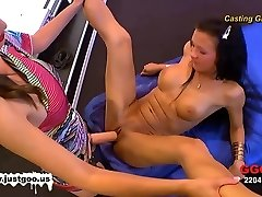 Audition girl Anna gets tested by Viktoria's large string-on!