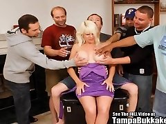 Kinky Blonde MILF Slag Gang Penetrate Bukkake