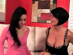Black-haired daughter and mom flashing pussies