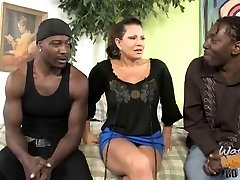 Mature mom with large bra-stuffers fucked by two black bros