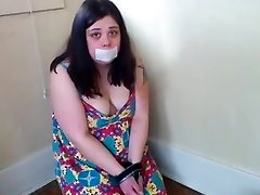 Handcuffed Chubby Slut Gasping on Cock