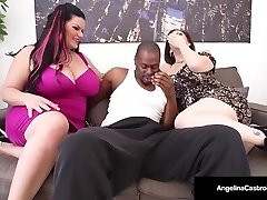 Cuban BBW Angelina Castro & Sara Jay Deep-throat A Big Dark-hued Cock!