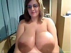 Gross Chick shows off insanely huge tits