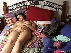 Lusty Indian honey with big natural boobs fingers her snatch