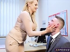 Sexy busty educator fucked stiff in her office