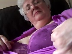 Grannie with ginormous boobs upskirt no panties tease