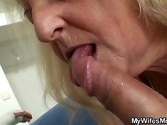 Towheaded old grandma rides his big dick