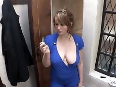 smoking girl down blouse huge breast