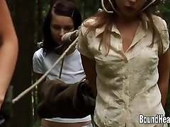 Two Guiltless Girls Caught By Lesbian Huntress And Corded Up