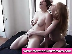 Lesbian Mormon amateur duo in underwear licking pussy