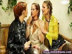 Messy bukkake fetish lesbian whores