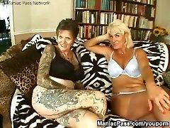 Tattooed lesbian granny pounded