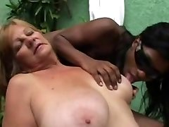 Dark-hued Tranny anb Blonde Granny - Part 1