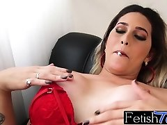 Ts babe Bellatrix smokes and masturbates her erected donger