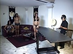 3 trannies and their master into bondage action