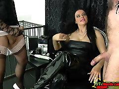 Slave and tranny masturbation challenge for german domina