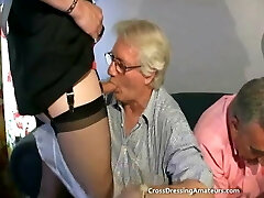 Teen with 2 old guys and a mature crossdresser