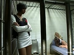 NO Lesbo Act in County Jail Honey Foxxx and her Enormous Cock Fuck a Blonde Inmate