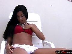 Black hair black shemale in hot lingerie strokes her boner