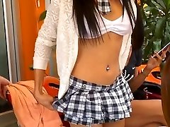 Lovely ladyboy in school uniform walk to meet ladyboy mate